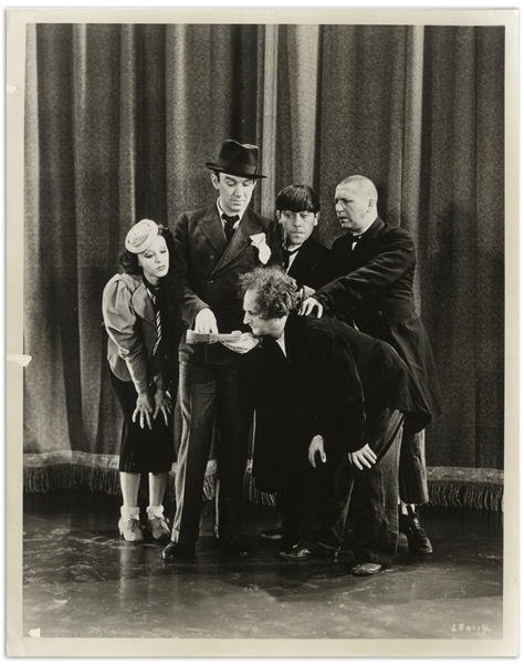 8 x 10 Glossy Photo From 1931 -- Vaudeville Publicity Still Features Ted Healy & Bonnie Bonnell With Curly, Moe and Larry -- Very Good Condition